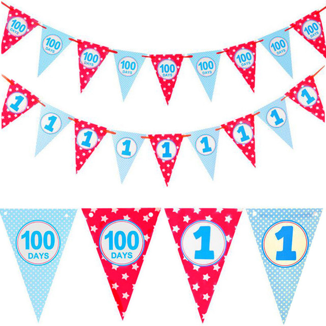 Aliexpresscom Buy Blue Red 100 Days And 1st Birthday Banner Diy