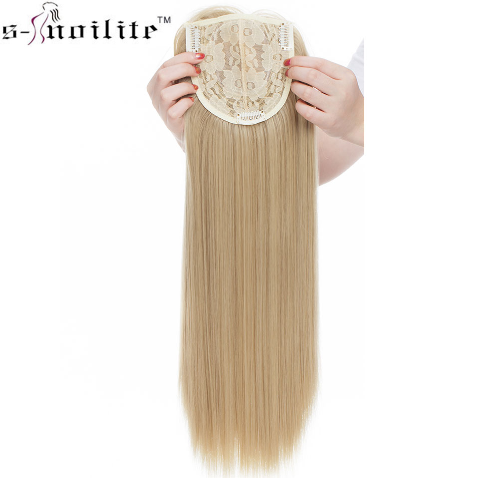 SNOILITE 17inch 3 Clips In One Piece Hair Extension Long Straight Hair Extension Synthetic Topper Hair Piece With Bangs