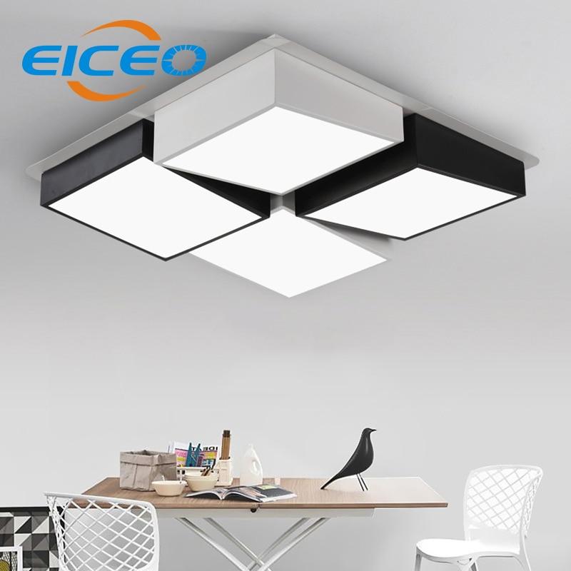 (EICEO) Modern Minimalist LED Ceiling Lamp Living Room Rectangular Art Creative Personality Geometric Combination Lighting