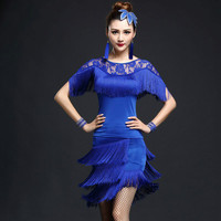 Elegant Sexy Unequal Girls Tassel Tops And Skirt Blue Rose Red Black Ladies Latin Tango Ballroom