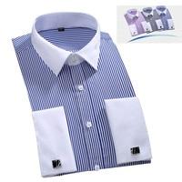 Men French Cufflinks Shirt Casual Men Shirts Long Sleeve Male Shirts Slim Fit Vertical Stripes Cuff