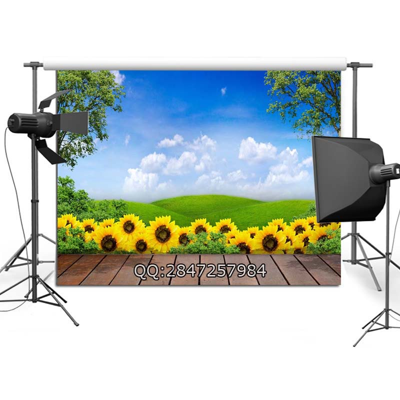 Wood Floor Sunflowers Photo Background Props Nature Polyester Photography Backdrop F-2389