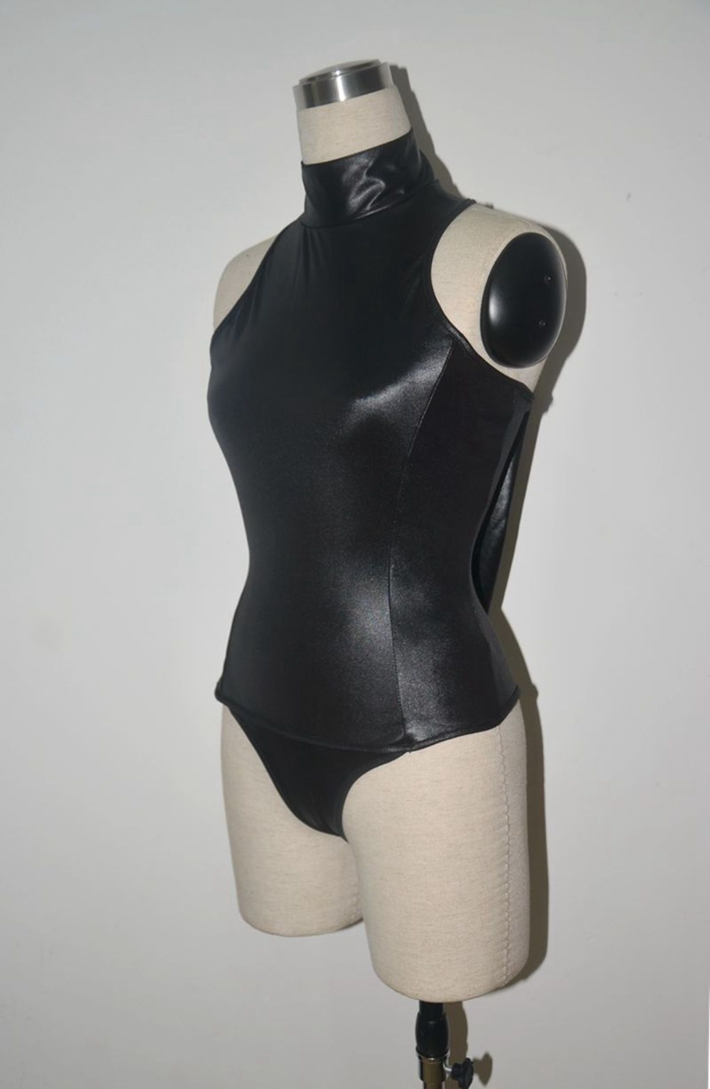 S-4XL, черный, красный, эротические купальники для косплея горничной, черный, красный, боди из искусственной кожи, сексуальное трико с высоким воротом и рукавами, Фетиш swinwe