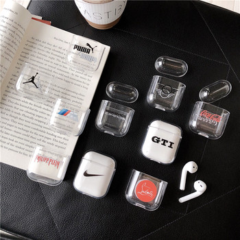 New Fashion Off Accessories case for Airpods 1 2 Clear Bluetooth Headset Earphone Transparent Hard Case white Skin bag cover чехол для airpods nike
