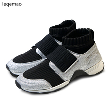 Shoes - Womens Shoes - Hot Sale New Brand Star Fashion Runway Shoes Women Sneakers Stretch Sock Mixed Color Short Round Toe Female Ankle Boots 35-41
