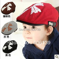 Fashion spring autumn cross letter cap children letter beret hat baby boys girls peaked cap free shipping