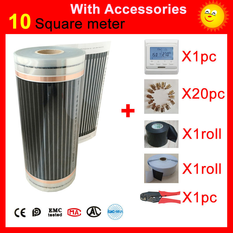 10 Square meter Infrared Heating film, AC220V floor heating film 50cm x 20m With accessories united kingdom free shipping 50 square meter infrared heating film with accessories under floor heating film 50cmx100m