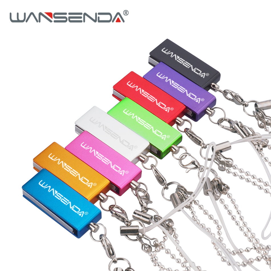 New WANSENDA Rotation USB Flash Drive Waterproof Pen Drive 4GB 8GB 16GB 32GB 64GB Pendrive USB Stick Flash Drive With Chain