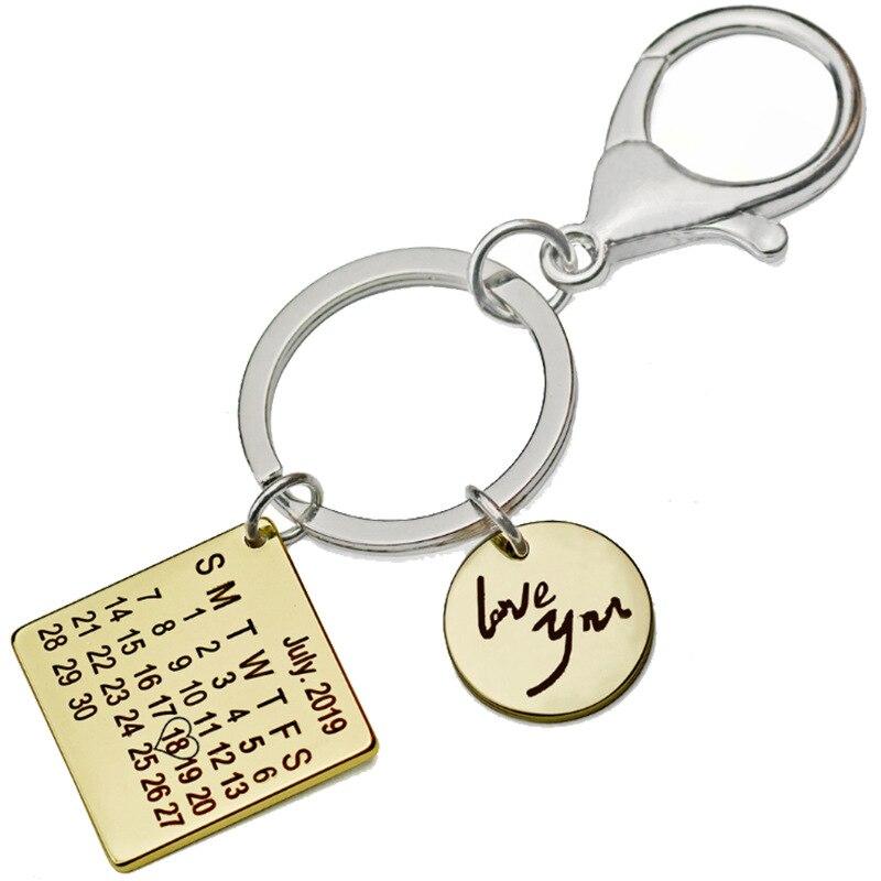 Персонализированные Дата брелок-календарь из нержавеющей стали квадратный поднос Love You индивидуальный брелок модная пара мужчин и женщин брелок