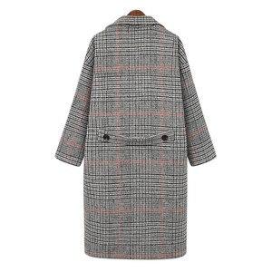 Image 4 - Hodisytian Cardigan Long et épais, mélange de laine à carreaux pour femmes, manteau en cachemire, grande taille 4XL, mode hiver décontracté coton