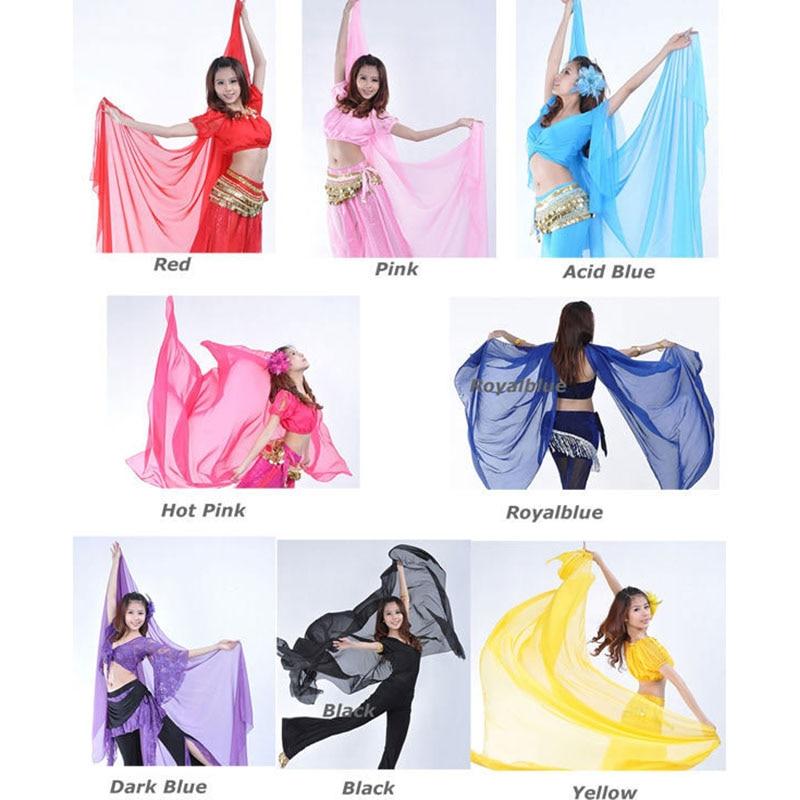 2019 quente popular dança do ventre chiffon grande véu xale cachecol guarnição de ouro para mulher à venda 240*120 cm