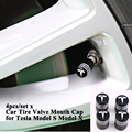 4pcs/set Aluminum Alloy Car Tire Wheel Valve Cap Cover Logo Valve Mouth Styling Accessories for Tesla Model S Model X Model 3