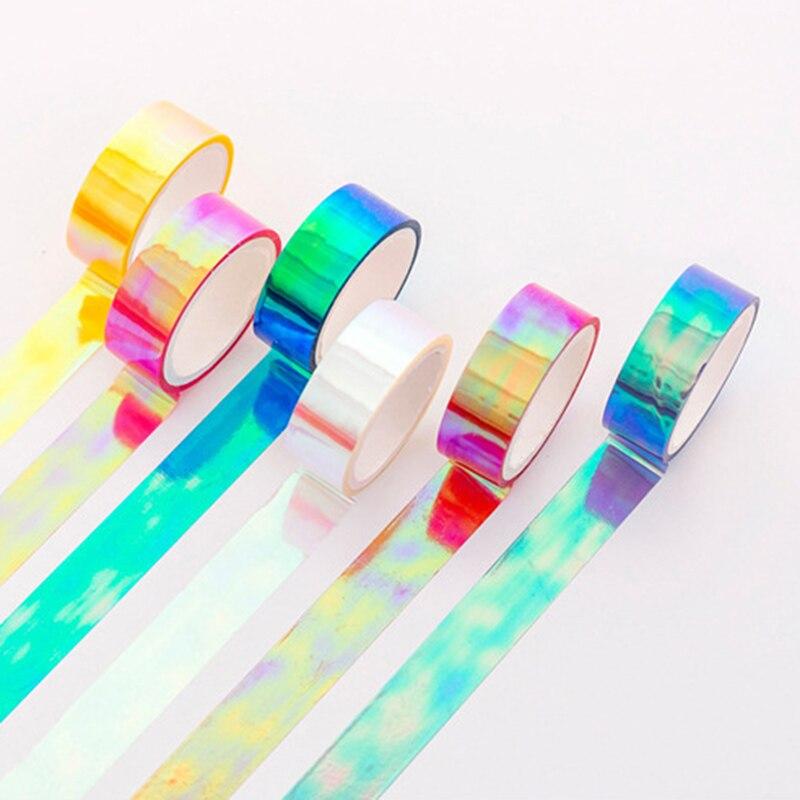 15mm*5m Rainbow Laser Washi Tape Glitter Stationery Scrapbooking Decorative Adhesive Tapes DIY Masking Tape School Supplies