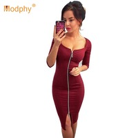 Modphy 2019 Spring Long Sleeve Dress Black Red Blue Front Zip Bodycon Vestidos Sexy Club Costume Party Dress Wholesale