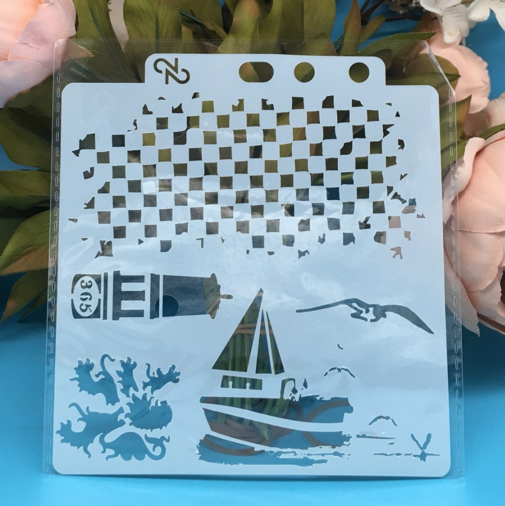 13cm New Sailboat Seagul DIY Layering Stencils Wall Painting Scrapbook Coloring Embossing Album Decorative Card Template