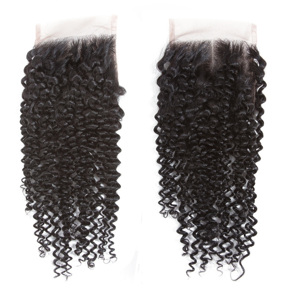 QT Remy Human Hair Kinky Curly Closure Hand Tied Lace Based 4 4 Free Part Middle