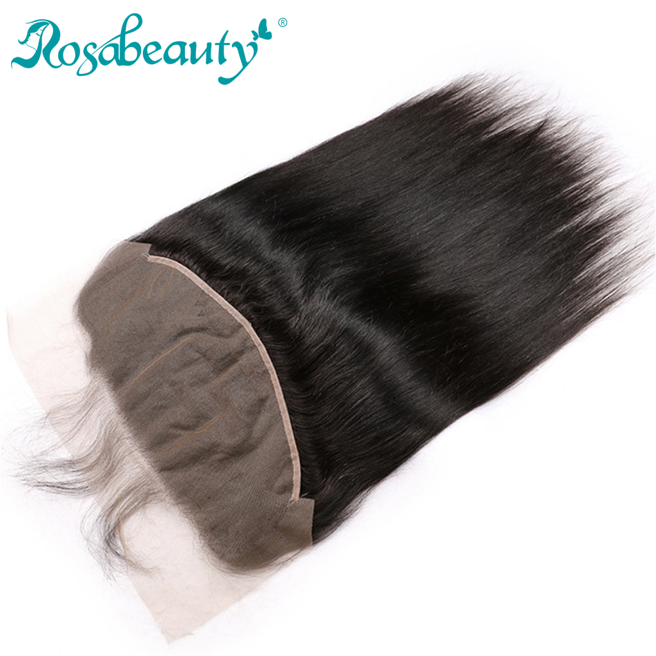 Rosabeauty Pre-plucked 13X6 Lace Frontal Closure Natural Straight Virgin Human Hair Closure Bleached Knots Shipping Free