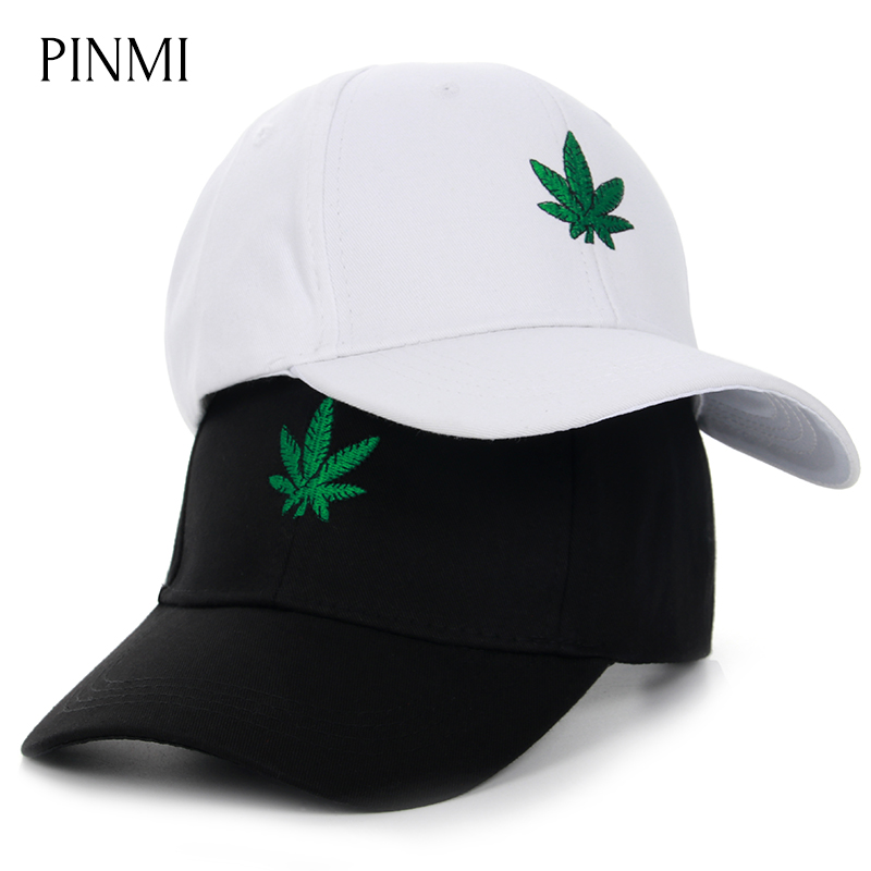 PINMI 2018 Embroidery Hemp Leaf Snapback Caps Men Leisure Black Baseball Cap Women Cotton Sun Hat Women Dad Hats Cap Couple Bone gold embroidery crown baseball cap women summer cap snapback caps for women men lady s cotton hat bone summer ht51193 35
