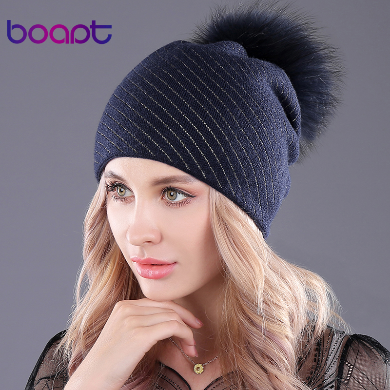 [boapt] fluffy natural real raccoon fur hats for women cap cashmere thick folds   beanie   female winter hat warm   skullies     beanies