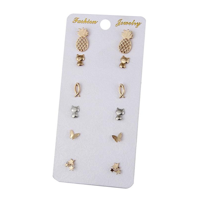 Sliver Gold Color Stud Earrings Cat Star Pineapple Butterfly Fish Vintage Earring Set For Women Jewelry Oorbellen e0203