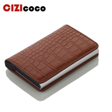 New Unisex Credit Card Holders PU Leather Blocking Rfid Wallet Men id card holder Security Information Aluminum Case Purse