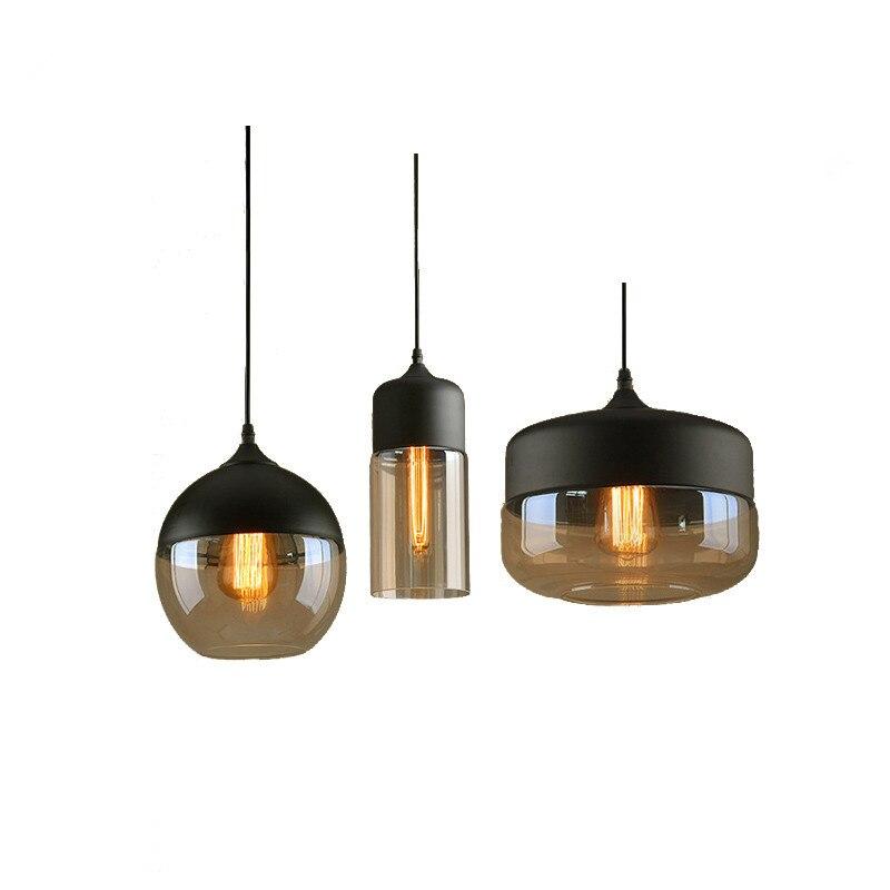 цена Vintage Pendant Lights Glass Abajur Suspension Luminaire Loft Retro E27 Lamp Lamparas Colgantes Industrial Home Lighting Fixture