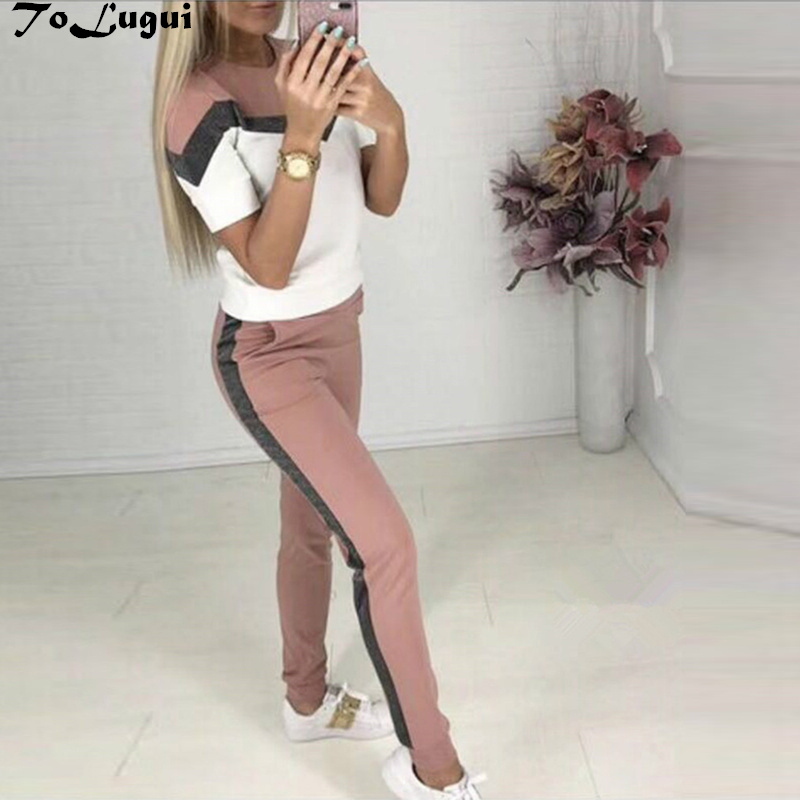 ToLugui Summer Women's Set Short Sleeve Sports Suit Patchwork O-neck T-shirt+pant 2 Piece Set Tracksuit For Women Sweat Suit