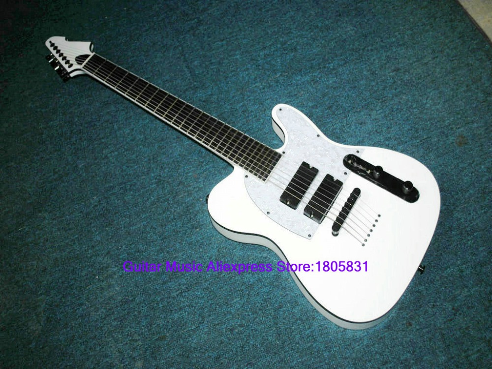 7 strings white electric guitar one piece neck wholesale guitars top musical instruments in. Black Bedroom Furniture Sets. Home Design Ideas