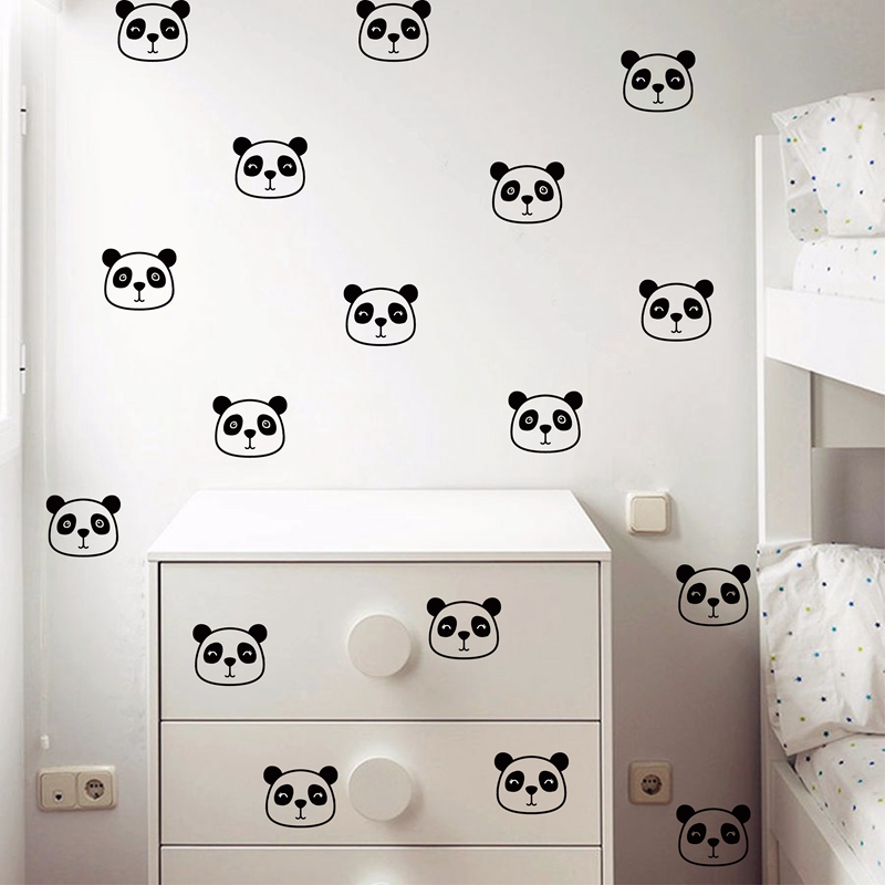 Mignon panda-wall art-autocollant-autocollant vinyle 4 tailles en 12 couleurs