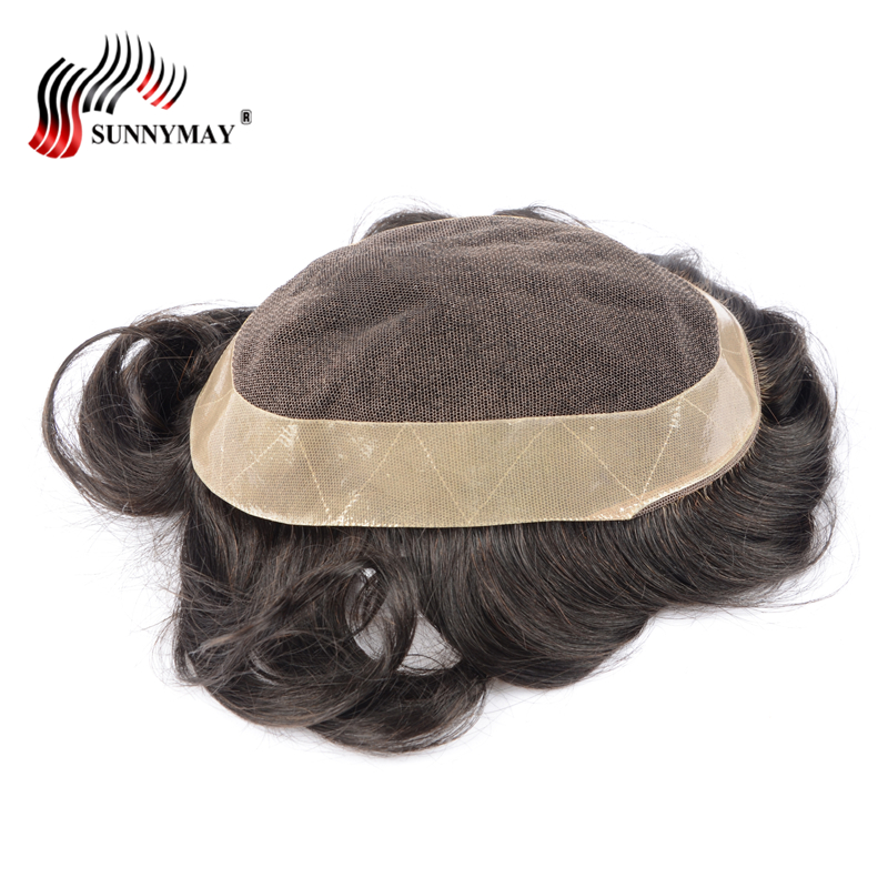 Sunnymay mens lace front hair wig mens toupee wig french lace with skin around . hair re ...