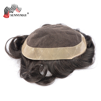 Sunnymay men's lace front hair wig mens toupee wig french lace with skin around . hair replacement,hair men toupee in stock