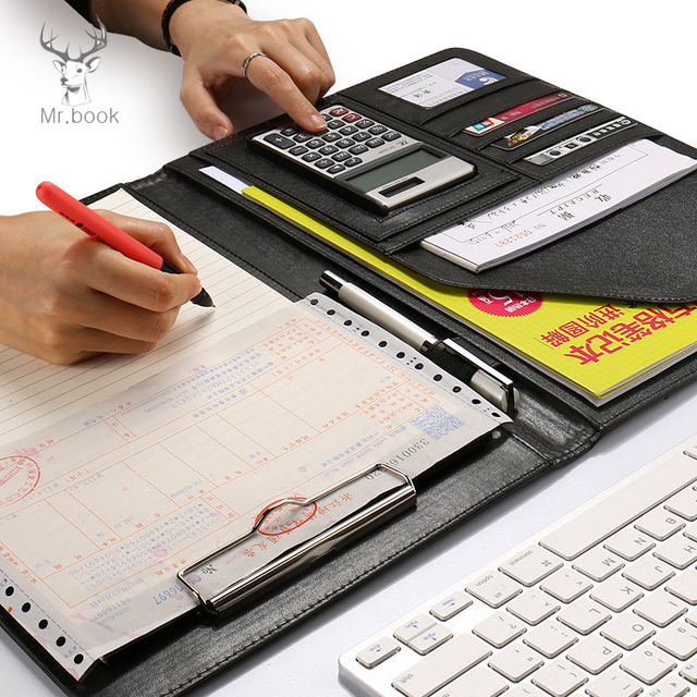 A4 Leather Folder Padfolio Multi function Office Documents Organizer Planner Notebook School Writing Pads Folder with Calculator