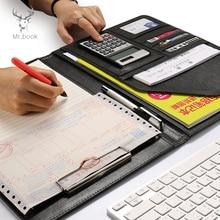 Classeur en cuir A4 multifonction, Padfolio organisateur de Documents de bureau, carnet de notes, tampons décriture scolaire, dossier avec calculatrice