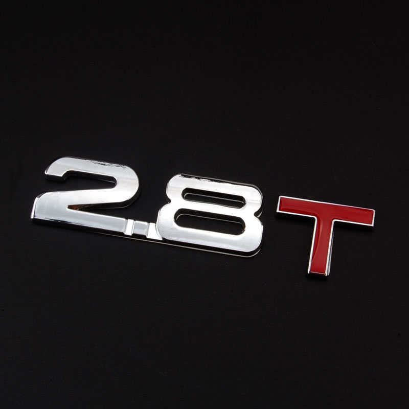 Metal 3D 2.8T Turbo Car Sticker 2.8 T Rear Trunk Emblem Badge Decal Personality Fit for SRX 9-3 Liberty 2005-2011