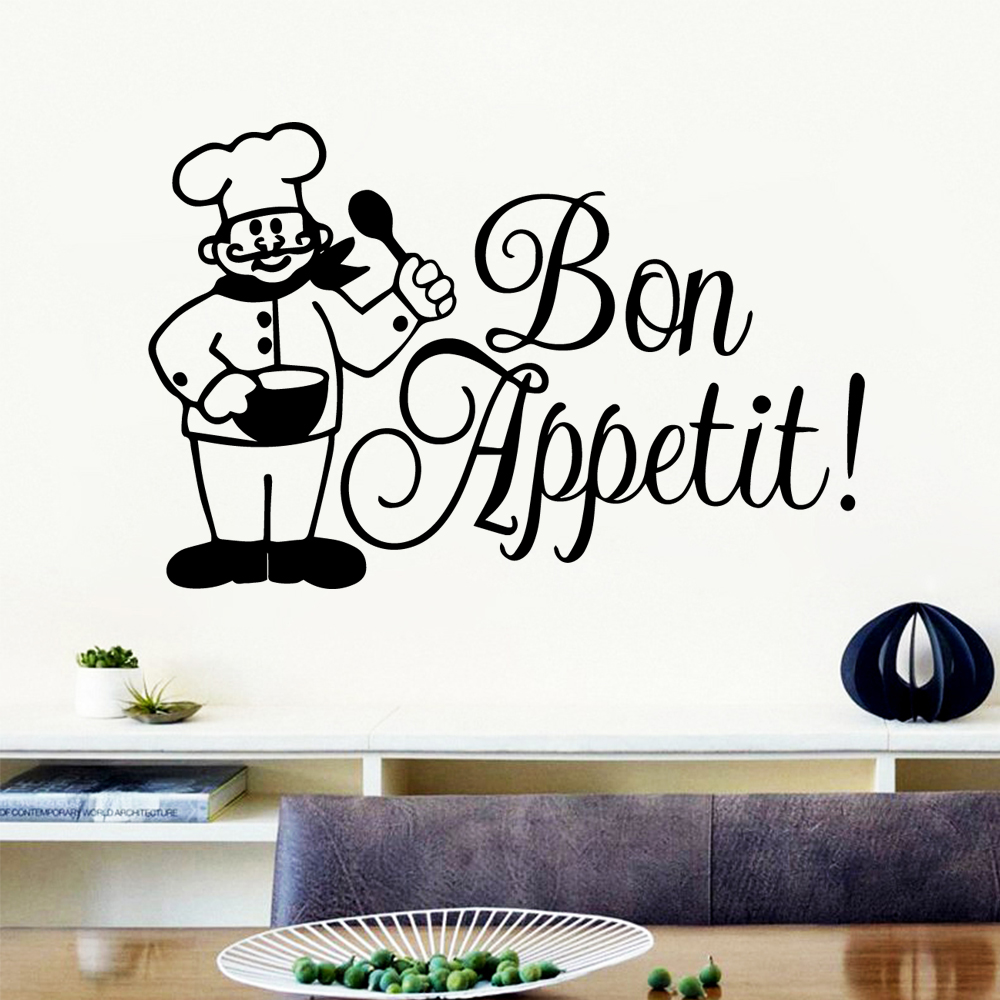 Delicate Bon appetit Environmental Protection Vinyl Stickers for Living Room Company School Office  Wall Decoration Murals