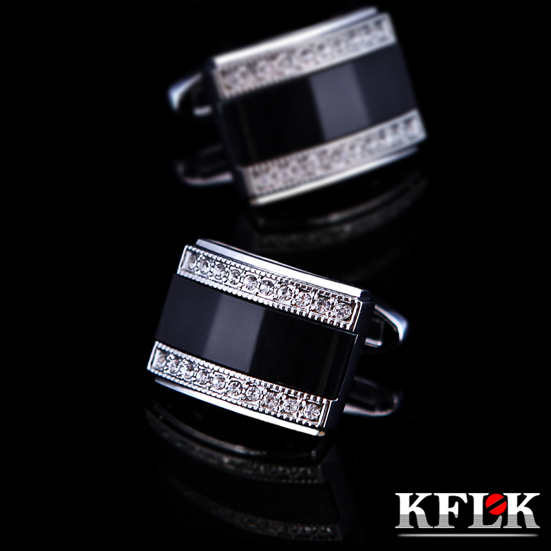 KFLK Jewelry French shirt cufflink for mens Brand Fancy Black Cuffs link Button High Quality Luxury Wedding male Shipping Free