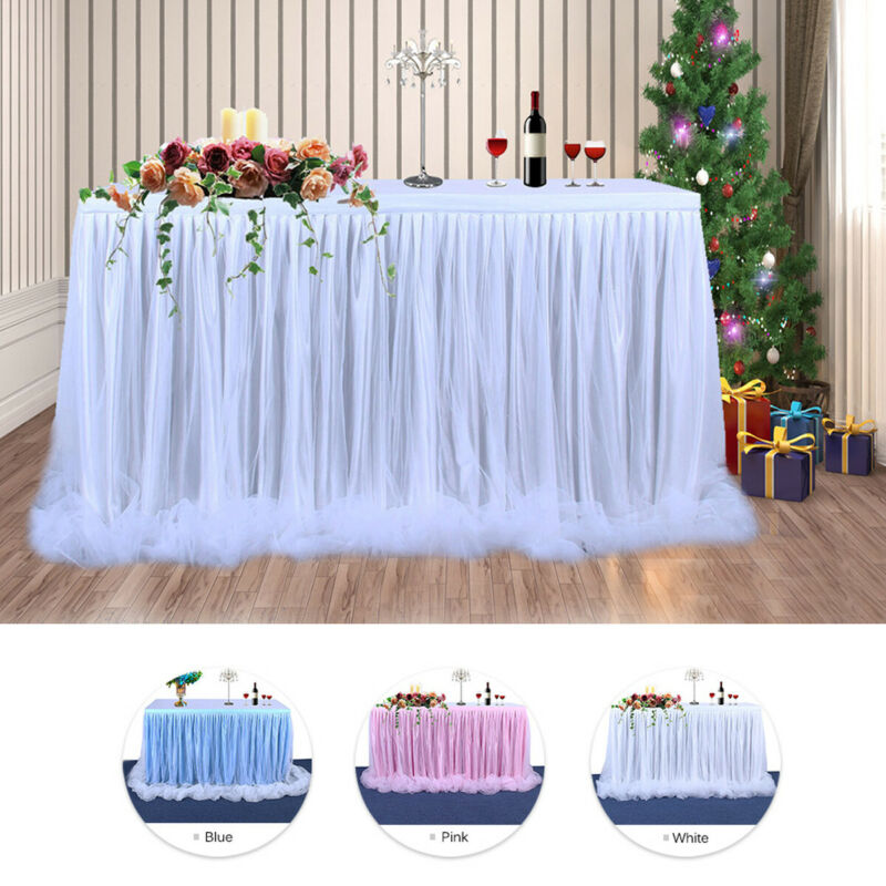 2019 Table Skirt Tulle  Cover Birthday Wedding Festive Party Decor For Weddings Celebrations Parties Events White Pink Blue