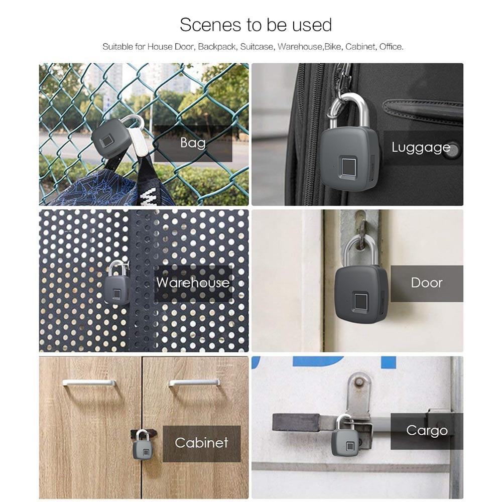 Image 5 - Smart Lock Keyless Fingerprint Lock IP65 Waterproof cerradura inteligente Anti Theft Security Padlock Door Luggage Case Lock-in Electric Lock from Security & Protection