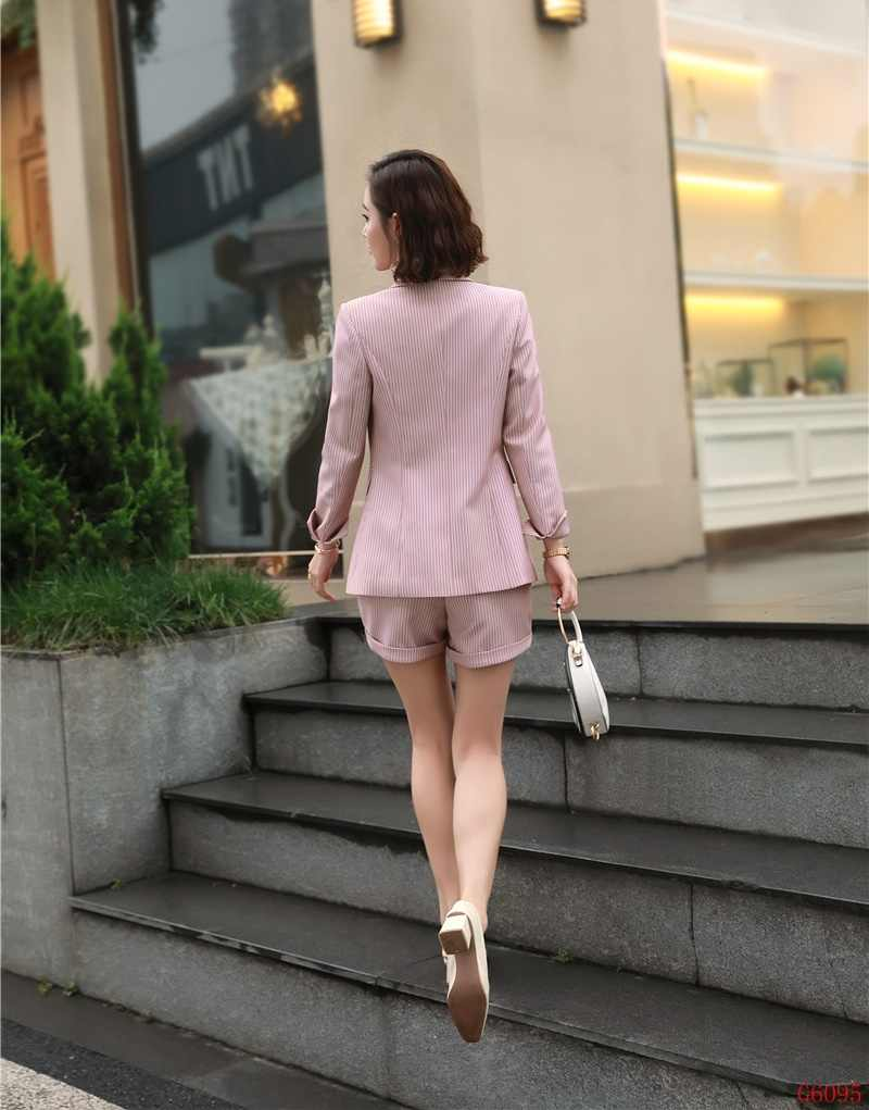 8adb72cf565 ... Fashion Formal Ladies Pink Striped Blazer Women Business Suits Shorts  and Jacket Sets Work Wear Office ...
