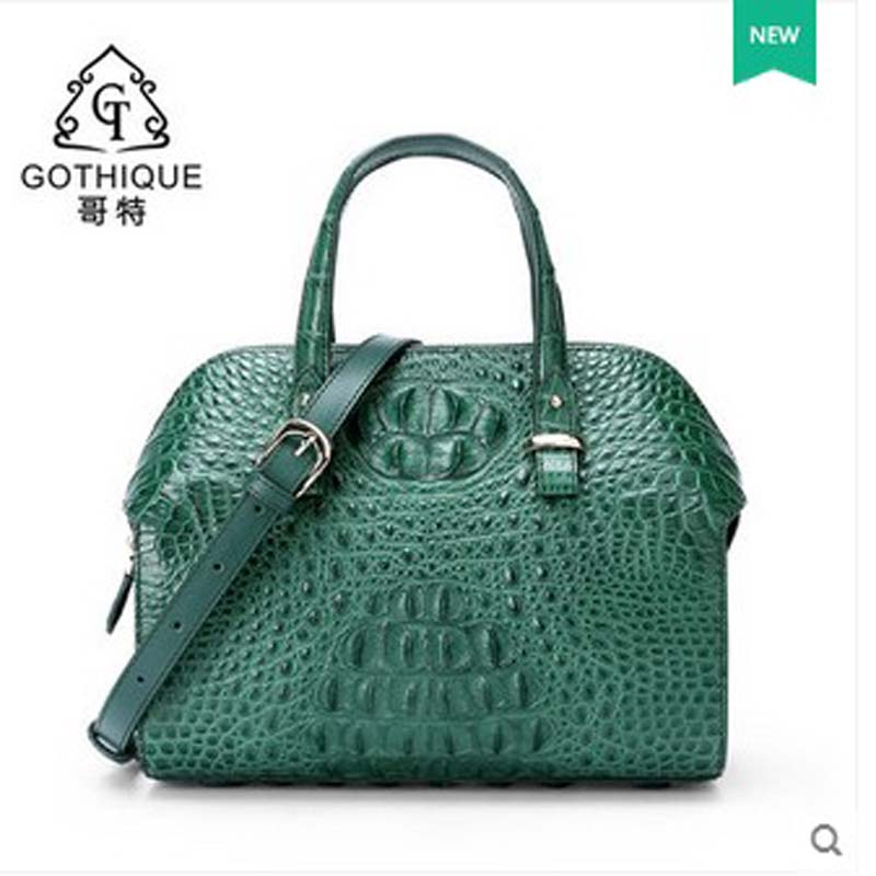 gete 2017 new hot free shipping crocodile women handbag inclined singe shoulder bag Boston bag commuter crocodile women bag