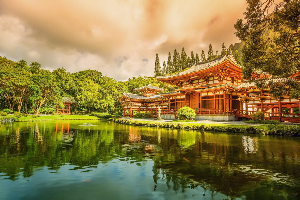 Asian wooden architecture lake tree green garden landscape 015 ...