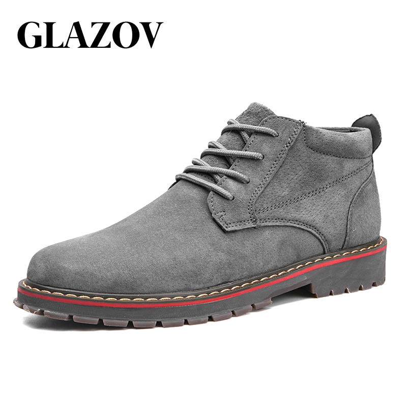 GLAZOV/брендовые Замшевые мужские ботинки, осенне-зимние ботильоны, модная обувь, обувь на шнуровке, мужская обувь высокого качества, винтажна...