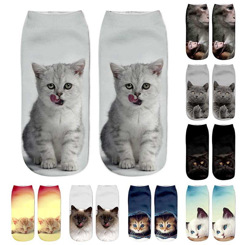 1 Pair Concise Style Cat Printed Ankle Crew Mens Cotton Boat Socks Low Cut Winter Warm Sports Socks