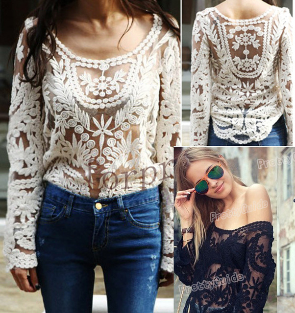 Summer Fashion Street  PrettyGuide Women's Semi Embroidery Floral Lace Crochet  Blouse Hollow out Shirt
