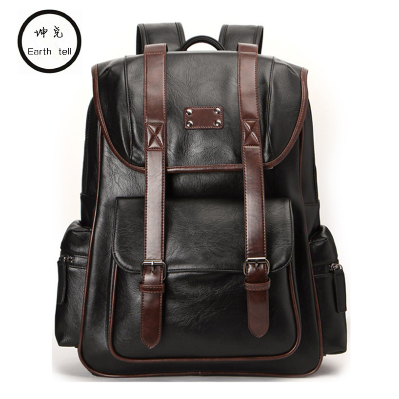 KUNDUI Men Backpacks PU Leather Mens Travel Fashion Man laptop bags Casual Business Male College Students portable school bag ...