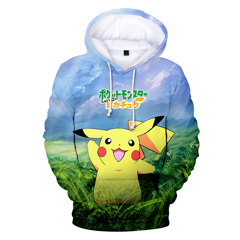 2018 New 4 Pokemon 3D Printing New Fashion 3D Print Hoodie Anime Spring Sweatshirt Casual Fashion Men/Women