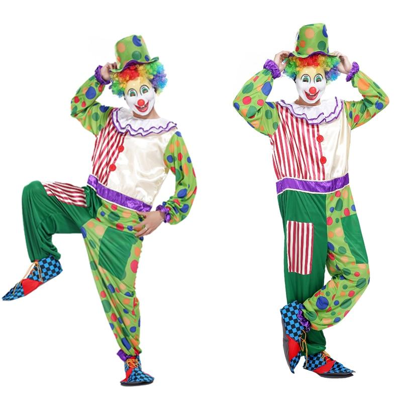 AliExpress shipping Halloween cosplay costume adult clown magic show clothing circus clown costume funny green dot