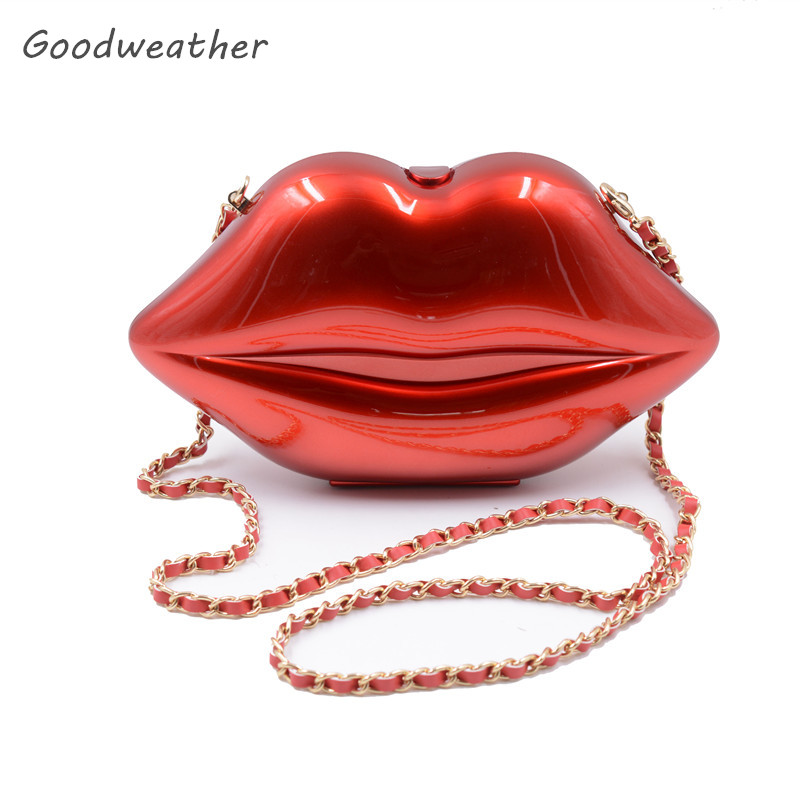 Designer Red Evening Clutch Bags Lips Handbag Small Women Shoulder Fashion Abs Pc Chain 5 Colors For Party Sac A Main In From