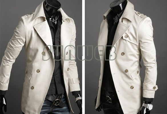 new Men's Stylish Double Breasted Long Trench Coat Jacket Windbreak dropshopping 3386