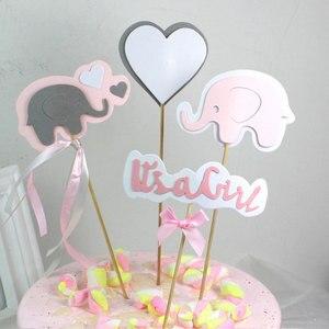 Image 5 - 4 teile/los Cartoon baby elephant kuchen topper geburtstag tasse kuchen dekoration baby dusche kinder geburtstag party hochzeit gunsten versorgung